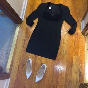 Escada Black Velvet Bustier Long Sleeve Dress 38/8